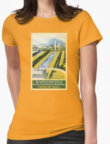 Washington Vintage Travel Poster Restored Womens Fitted T-Shirt