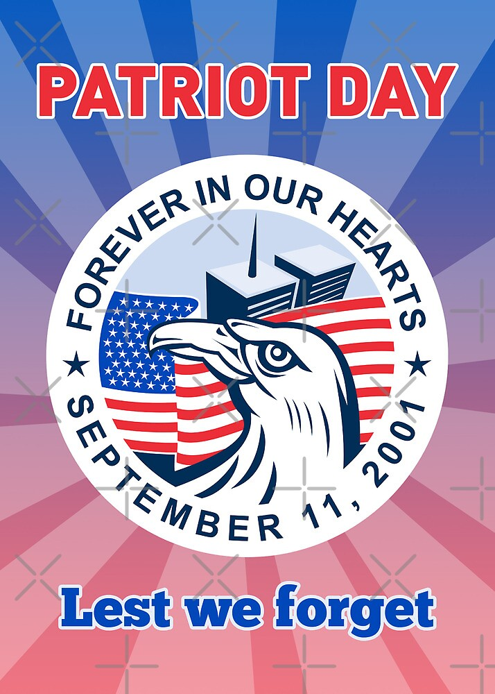 American Eagle Flag Twin Tower Patriot Day 9-11 by patrimonio