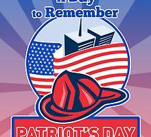 9-11 Firefighter Fireman Helmet American Flag  by patrimonio