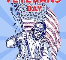 Veterans Day card American soldier serviceman flag  by patrimonio