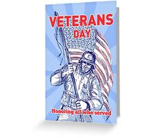 Veterans Day card American soldier serviceman flag  Greeting Card