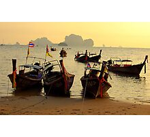 Boat Taxi to Railay Thailand Photographic Print