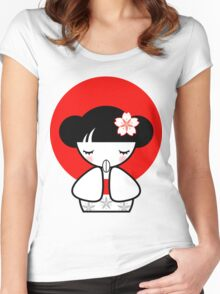 Pray for Japan Kokeshi Doll Women's Fitted Scoop T-Shirt