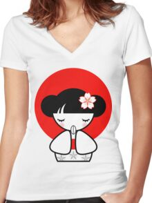 Pray for Japan Kokeshi Doll Women's Fitted V-Neck T-Shirt