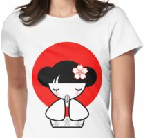 Pray for Japan Kokeshi Doll Womens Fitted T-Shirt