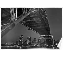 Bridging Circular Quay - Black and White Poster