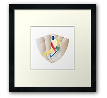 Field Hockey Player Shield Retro Framed Print