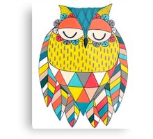 Aztec Owl Illustration Metal Print