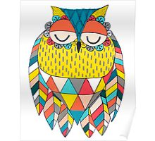 Aztec Owl Illustration Poster