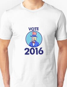 Vote 2016 Uncle Sam TopHat American Flag Circle Retro T-Shirt