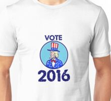 Vote 2016 Uncle Sam TopHat American Flag Circle Retro Unisex T-Shirt
