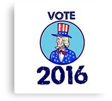 Vote 2016 Uncle Sam TopHat American Flag Circle Retro Canvas Print