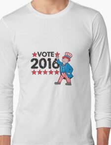Vote 2016 Uncle Sam Hand Pointing Up Retro Long Sleeve T-Shirt