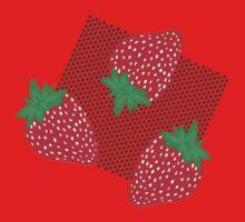 Bold Strawberries Pattern Kids Tee