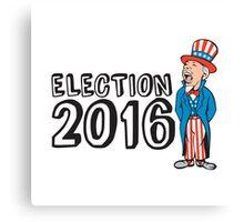 Election 2016 Uncle Sam Shouting Retro Canvas Print
