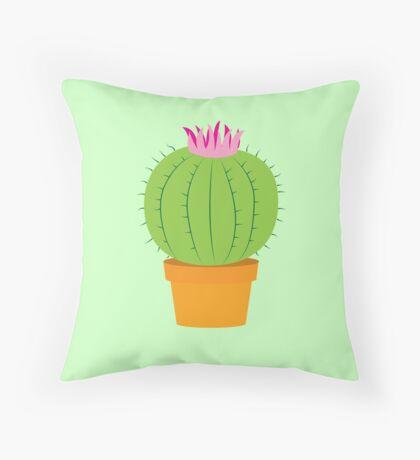 Single green round flowering cactus Throw Pillow