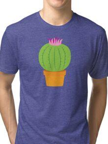 Single green round flowering cactus Tri-blend T-Shirt