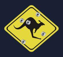 Kangaroo Crossing Sign (bullet Holes) Kids Clothes