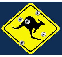 Kangaroo Crossing Sign (bullet Holes) Photographic Print