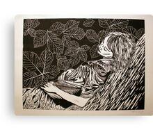 Sleeping Girl- xylography Canvas Print