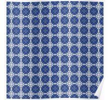 Blue and white oriental pattern Poster