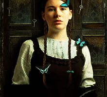 Girl with Blue Butterflies by Sybille Sterk