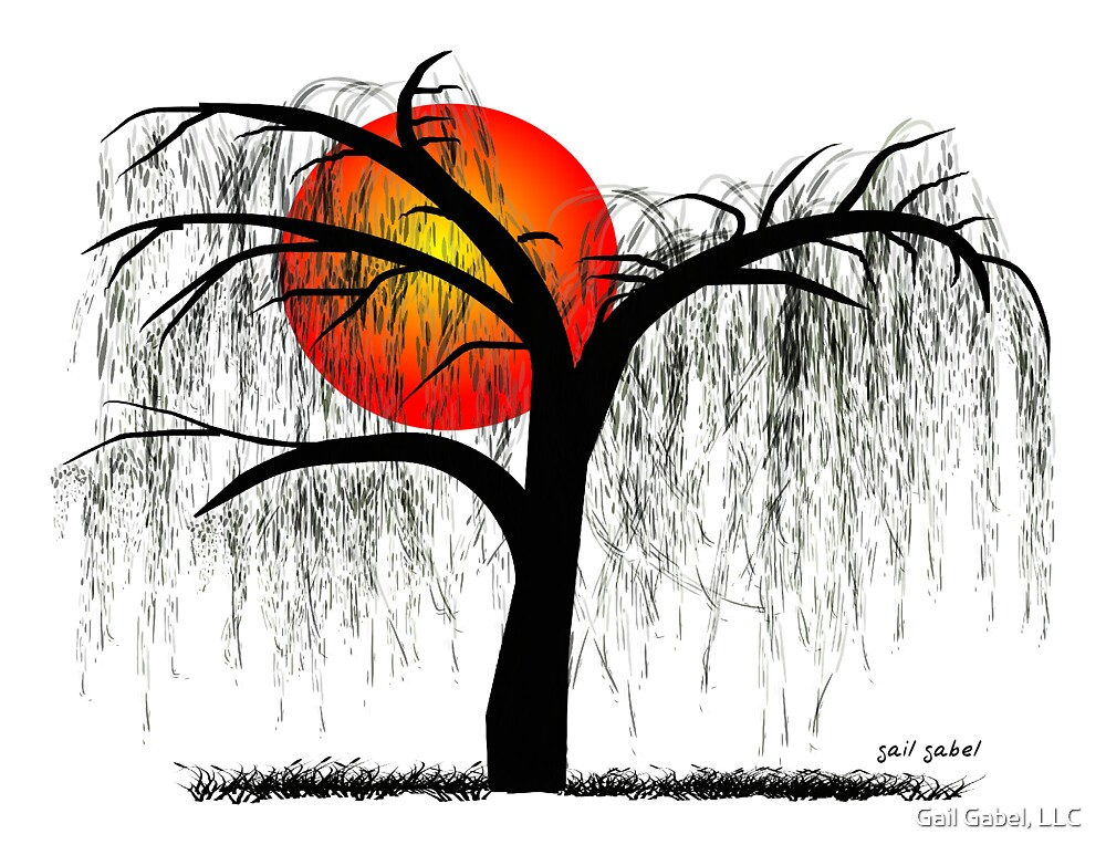 Weeping Willow Tree at Sunset by Gail Gabel, LLC