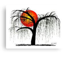 Weeping Willow Tree at Sunset Canvas Print