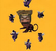 Monkey King Dreams of Hippo Cherubs (Carnivalesque Collage Series) by Ms. Creant