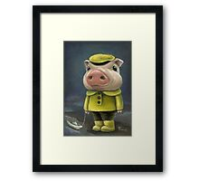 Peter the pig sailing his boat Framed Print