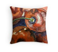Delicious red cherries Throw Pillow
