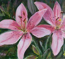 Pink lilies by Saga Sabin