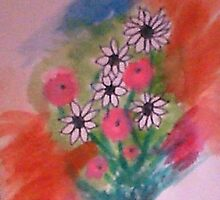 Daisey Bouquet 2  abstract/casual, watercolor by Anna  Lewis, blind artist