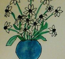 Blue Vase with White  Daiseys, watercolor by Anna  Lewis, blind artist