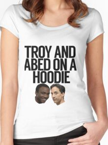 Troy And Abed On A Hoodie Women's Fitted Scoop T-Shirt