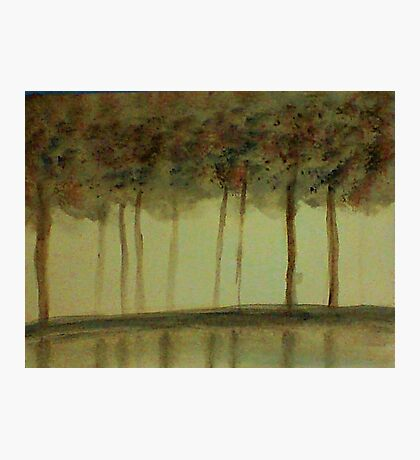 Misty Trees Reflected in Water,,,watercolor Photographic Print