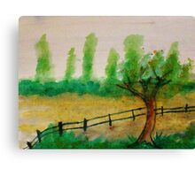 Misty Trees in backround, with fence, watercolor Canvas Print