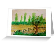 Misty Trees in backround, with fence, watercolor Greeting Card