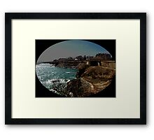 Land breaking onto Sea Framed Print