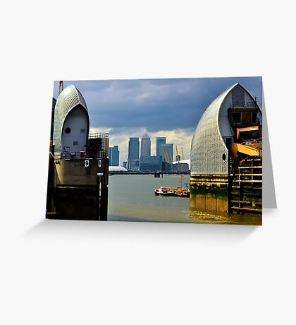 Canary Wharf & O2 Arena From Thames Barrier Greeting Card