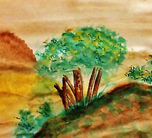 Trees on a Bluff Overlooking the Valley and Mountains, watercolor by Anna  Lewis