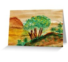 Trees on a Bluff Overlooking the Valley and Mountains, watercolor Greeting Card