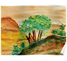 Trees on a Bluff Overlooking the Valley and Mountains, watercolor Poster