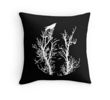Nevermore (White Silhouette) Throw Pillow