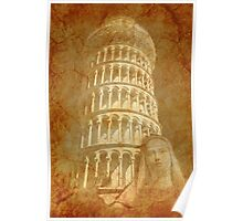 Grunge Saint and Tower, Tuscany Italy Poster