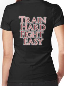 Train Hard, Fight Easy, Boxing, MMA, Judo, Karate, Kung fu, Ju jitsu, Wrestling, etc Women's Fitted V-Neck T-Shirt