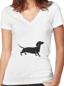 Connect The Doxie Dots Women's Fitted V-Neck T-Shirt