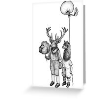 Deerboy and Alpacaboy at the fun fair Greeting Card
