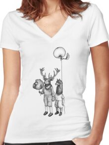 Deerboy and Alpacaboy at the fun fair Women's Fitted V-Neck T-Shirt