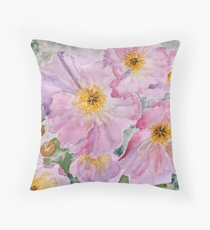 Delicate pink poppies Throw Pillow